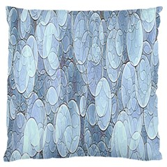 Bubbles Texture Blue Shades Large Flano Cushion Case (two Sides) by Celenk
