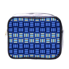 Textiles Texture Structure Grid Mini Toiletries Bags by Celenk