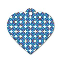 Geometric Dots Pattern Rainbow Dog Tag Heart (one Side) by Celenk