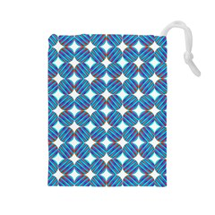 Geometric Dots Pattern Rainbow Drawstring Pouches (large)  by Celenk