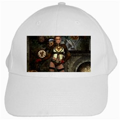 Steampunk, Steampunk Women With Clocks And Gears White Cap by FantasyWorld7