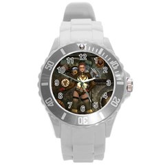 Steampunk, Steampunk Women With Clocks And Gears Round Plastic Sport Watch (l) by FantasyWorld7