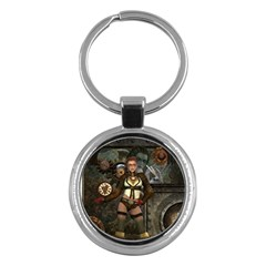 Steampunk, Steampunk Women With Clocks And Gears Key Chains (round)  by FantasyWorld7