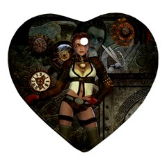 Steampunk, Steampunk Women With Clocks And Gears Heart Ornament (two Sides) by FantasyWorld7