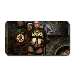 Steampunk, Steampunk Women With Clocks And Gears Medium Bar Mats by FantasyWorld7