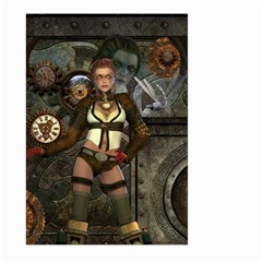 Steampunk, Steampunk Women With Clocks And Gears Large Garden Flag (two Sides) by FantasyWorld7