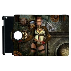 Steampunk, Steampunk Women With Clocks And Gears Apple Ipad 3/4 Flip 360 Case by FantasyWorld7