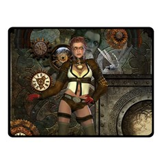 Steampunk, Steampunk Women With Clocks And Gears Double Sided Fleece Blanket (small)
