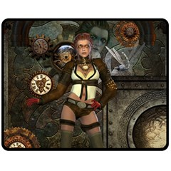 Steampunk, Steampunk Women With Clocks And Gears Double Sided Fleece Blanket (medium)  by FantasyWorld7