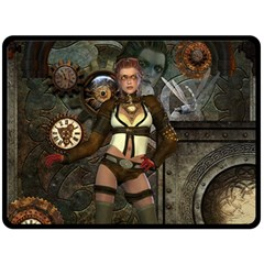 Steampunk, Steampunk Women With Clocks And Gears Double Sided Fleece Blanket (large)  by FantasyWorld7