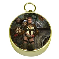 Steampunk, Steampunk Women With Clocks And Gears Gold Compasses by FantasyWorld7
