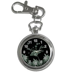 Surfboard With Dolphin, Flowers, Palm And Turtle Key Chain Watches by FantasyWorld7