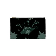 Surfboard With Dolphin, Flowers, Palm And Turtle Cosmetic Bag (small)  by FantasyWorld7