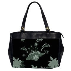 Surfboard With Dolphin, Flowers, Palm And Turtle Office Handbags (2 Sides)  by FantasyWorld7