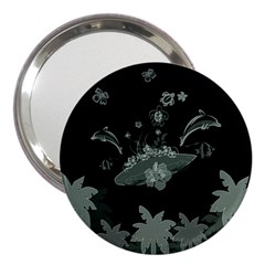 Surfboard With Dolphin, Flowers, Palm And Turtle 3  Handbag Mirrors by FantasyWorld7