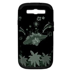 Surfboard With Dolphin, Flowers, Palm And Turtle Samsung Galaxy S Iii Hardshell Case (pc+silicone) by FantasyWorld7