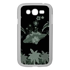 Surfboard With Dolphin, Flowers, Palm And Turtle Samsung Galaxy Grand Duos I9082 Case (white) by FantasyWorld7