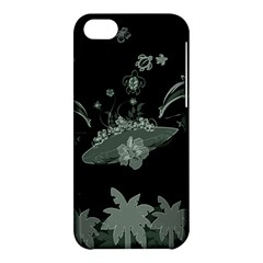 Surfboard With Dolphin, Flowers, Palm And Turtle Apple Iphone 5c Hardshell Case by FantasyWorld7