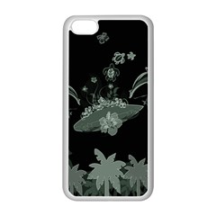 Surfboard With Dolphin, Flowers, Palm And Turtle Apple Iphone 5c Seamless Case (white) by FantasyWorld7