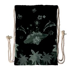 Surfboard With Dolphin, Flowers, Palm And Turtle Drawstring Bag (large) by FantasyWorld7