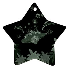 Surfboard With Dolphin, Flowers, Palm And Turtle Ornament (star) by FantasyWorld7