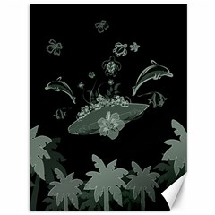 Surfboard With Dolphin, Flowers, Palm And Turtle Canvas 36  X 48   by FantasyWorld7
