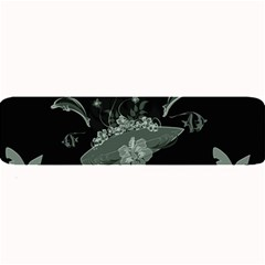 Surfboard With Dolphin, Flowers, Palm And Turtle Large Bar Mats by FantasyWorld7