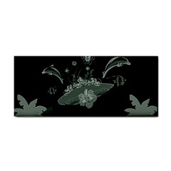 Surfboard With Dolphin, Flowers, Palm And Turtle Hand Towel by FantasyWorld7