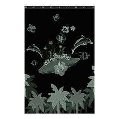 Surfboard With Dolphin, Flowers, Palm And Turtle Shower Curtain 48  X 72  (small)  by FantasyWorld7