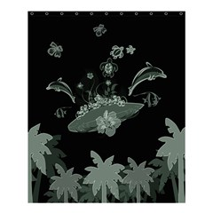 Surfboard With Dolphin, Flowers, Palm And Turtle Shower Curtain 60  X 72  (medium)  by FantasyWorld7
