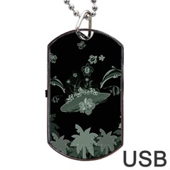 Surfboard With Dolphin, Flowers, Palm And Turtle Dog Tag Usb Flash (one Side) by FantasyWorld7