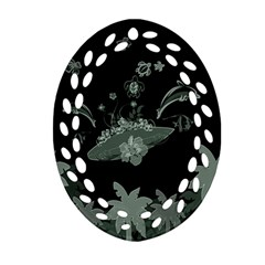 Surfboard With Dolphin, Flowers, Palm And Turtle Ornament (oval Filigree) by FantasyWorld7