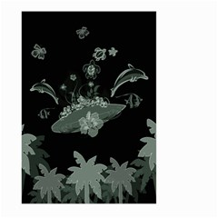Surfboard With Dolphin, Flowers, Palm And Turtle Large Garden Flag (two Sides) by FantasyWorld7