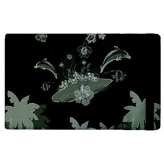 Surfboard With Dolphin, Flowers, Palm And Turtle Apple Ipad 2 Flip Case by FantasyWorld7