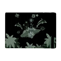 Surfboard With Dolphin, Flowers, Palm And Turtle Apple Ipad Mini Flip Case by FantasyWorld7