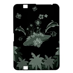 Surfboard With Dolphin, Flowers, Palm And Turtle Kindle Fire Hd 8 9  by FantasyWorld7