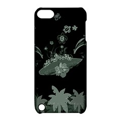 Surfboard With Dolphin, Flowers, Palm And Turtle Apple Ipod Touch 5 Hardshell Case With Stand by FantasyWorld7