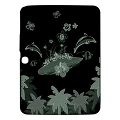 Surfboard With Dolphin, Flowers, Palm And Turtle Samsung Galaxy Tab 3 (10 1 ) P5200 Hardshell Case  by FantasyWorld7