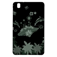 Surfboard With Dolphin, Flowers, Palm And Turtle Samsung Galaxy Tab Pro 8 4 Hardshell Case by FantasyWorld7