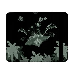 Surfboard With Dolphin, Flowers, Palm And Turtle Samsung Galaxy Tab Pro 8 4  Flip Case by FantasyWorld7