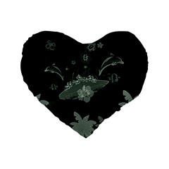 Surfboard With Dolphin, Flowers, Palm And Turtle Standard 16  Premium Flano Heart Shape Cushions by FantasyWorld7