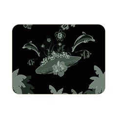 Surfboard With Dolphin, Flowers, Palm And Turtle Double Sided Flano Blanket (mini)  by FantasyWorld7