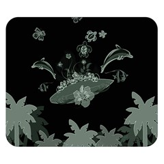 Surfboard With Dolphin, Flowers, Palm And Turtle Double Sided Flano Blanket (small)  by FantasyWorld7
