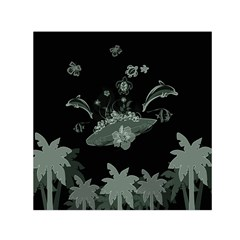 Surfboard With Dolphin, Flowers, Palm And Turtle Small Satin Scarf (square)  by FantasyWorld7