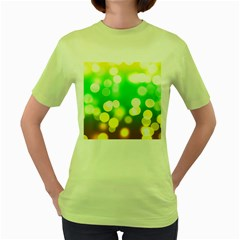 Soft Lights Bokeh 3 Women s Green T-Shirt