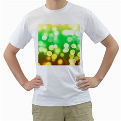 Soft Lights Bokeh 3 Men s T-Shirt (White) (Two Sided)