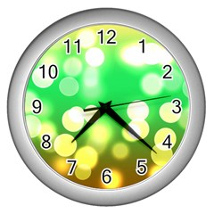 Soft Lights Bokeh 3 Wall Clocks (Silver)