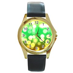 Soft Lights Bokeh 3 Round Gold Metal Watch