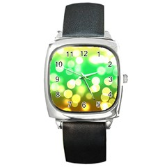 Soft Lights Bokeh 3 Square Metal Watch