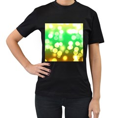 Soft Lights Bokeh 3 Women s T-Shirt (Black) (Two Sided)